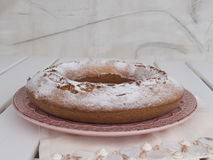Ciambellone sprinkled with powdered sugar on pink ceramic plate. royalty free stock images