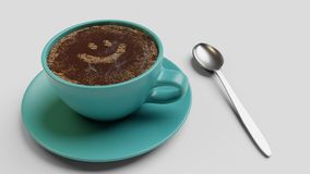 Cian cup of coffee with foam as smile 3d illustration isolated on white. Cian cup of coffee with foam as smile 3d render isolated on white vector illustration