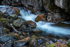 Cian spring river flowing in mountains. Somewhere deep within Altai mountains, Russia Stock Photos