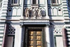 Ściana baptistery z Wschodnimi drzwiami w Florencja Zdjęcia Stock