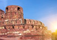 Ściana Czerwony fort na zmierzchu agra indu Zdjęcie Stock