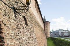 Ściana Kolomna Kremlin i wierza Zdjęcie Stock