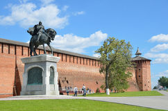 Ściana Kolomna Kremlinl zabytek Dmitry Donskoy Fotografia Royalty Free