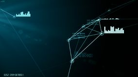 Ciano illustrazione astratta futuristica di griglia della connessione dati e della rete immagini stock libere da diritti