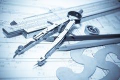 Cianografia & strumenti di architettura Fotografia Stock