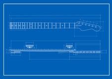 Cianografia del collo della chitarra Immagini Stock