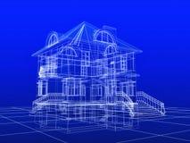 cianografia della casa 3D Immagini Stock