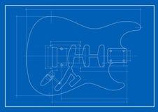 Cianografia della chitarra Immagine Stock