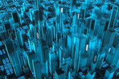 Cianografia della città Fotografia Stock