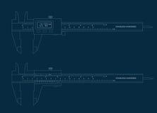 Cianografia digitale e di base del compasso a nonio degli strumenti illustrazione di stock