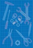 Cianografia e strumenti Immagine Stock