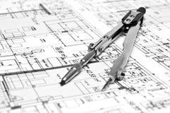 Cianografia e strumenti di ingegneria Immagine Stock Libera da Diritti