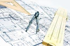 Cianografia e strumenti di ingegneria Immagini Stock Libere da Diritti