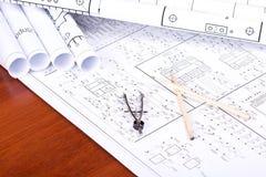Cianografia, matita e compasso Fotografia Stock Libera da Diritti