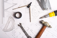 Cianografia per i lavori di costruzione Fotografia Stock