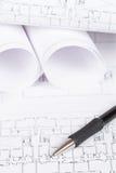 Cianografie e matita fotografie stock libere da diritti