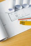 Cianografie e programmi di ingegneria Immagini Stock