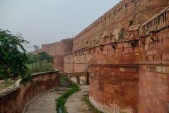 Ściany Czerwony fort Agra, India Fotografia Royalty Free