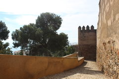 Ściany fort Gibralfaro w Malaga Zdjęcia Stock