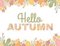 Ciao Autumn Text Background Immagine Stock Libera da Diritti