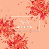 Ciao Autumn Watercolor Floral Design con la foglia di acero Insegna stagionale di caduta, manifesto, stampa, vendita, modello di  illustrazione di stock