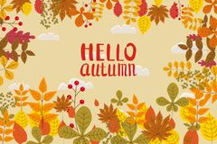 Ciao autunno, fondo con le foglie cadenti, giallo, arancia, marrone, caduta, iscrizione, modello per il manifesto, insegna illustrazione di stock