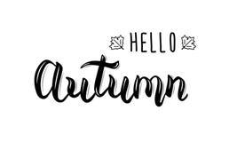 Ciao autunno La citazione d'avanguardia dell'iscrizione della mano, i grafici di modo, la stampa di arte per i manifesti e le car illustrazione di stock