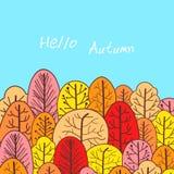 Ciao autunno, manifesto disegnato a mano Priorità bassa di autunno royalty illustrazione gratis