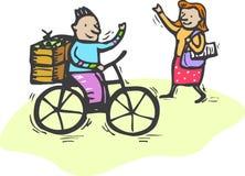 Ciao in bici Fotografia Stock