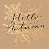 Ciao carta di autunno Fotografie Stock Libere da Diritti