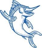 Ciao d'ondeggiamento del marlin azzurro ciao Immagini Stock Libere da Diritti