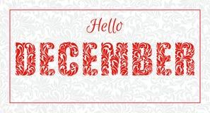 Ciao dicembre Fonte fatta dei turbinii e degli elementi floreali Fotografia Stock