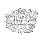 Ciao estate - iscrizione della mano ed elementi di scarabocchi Fotografia Stock