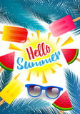 Ciao estate, manifesto di estate, aletta di filatoio o fondo dell'invito Summe Fotografie Stock