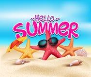 Ciao estate in spiaggia della spiaggia con gli oggetti realistici Fotografie Stock