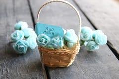 Ciao etichetta di marzo con le belle rose Fotografia Stock Libera da Diritti