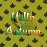 Ciao fondo dell'insegna di autunno con la foglia di acero verde illustrazione di stock