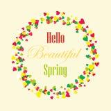 Ciao fondo della primavera con i cuori Pagina Fotografia Stock