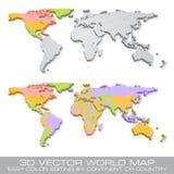Ciao il dettaglio ha colorato l'illustrazione politica della mappa di mondo di vettore Fotografie Stock Libere da Diritti