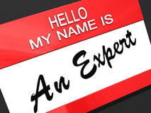 Ciao il mio nome è un esperto. Fotografie Stock