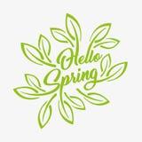 Ciao il verde della primavera ha stilizzato l'iscrizione su un fondo bianco, icona di tipografia del distintivo Stagione primaver Fotografia Stock