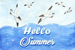 Ciao illustrazione dell'acquerello di estate illustrazione di stock