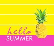 Ciao illustrazione dell'ananas di estate Cartolina d'auguri disegno d'avanguardia grafico di vettore Immagini Stock