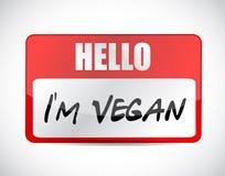 ciao illustrazione dell'etichetta di nome del vegano Im Fotografie Stock Libere da Diritti