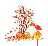 Ciao illustrazione di autunno di una foresta in autunno con la caduta delle foglie illustrazione vettoriale