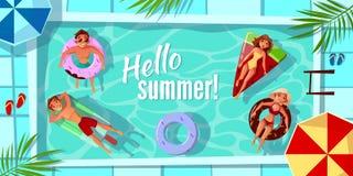 Ciao illustrazione di vettore della piscina di estate royalty illustrazione gratis