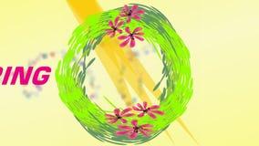 Ciao insegna della molla con la corona verde, i fiori rosa e il healine commovente, benvenuto della molla, pubblicità di vendita, illustrazione vettoriale