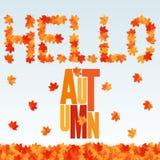 Ciao insegna di autunno Fondo con le foglie di acero di caduta Fotografie Stock Libere da Diritti