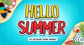 Ciao insegna di estate con il surf, il beach ball, l'anguria e gli occhiali da sole Illustrazione Vettoriale