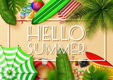 Ciao insegna di estate Vista superiore sulle foglie e sulle collezioni tropicali dell'elemento della spiaggia illustrazione di stock